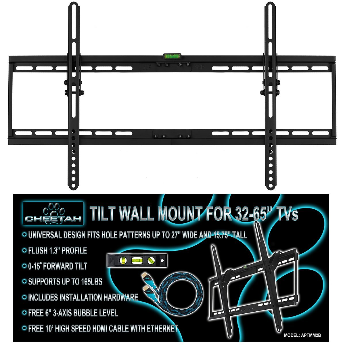 LCD LED Flat Screen Panel Tilt Cheetah TV Wall Mount Bracket 32 42 47 50 55 60 ""